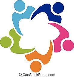 teamwork, zjednoczenie, 5 ludzi, logo