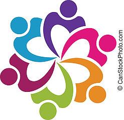 teamwork, zjednoczenie, ludzie, logo, wektor