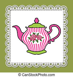 Teapot - Abstract illustration of pink teapot with roses on...