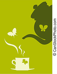 Teapot and cup of tea - Butterflies, teapot and cup of tea.