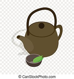 Teapot and cup of tea isometric icon