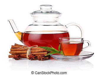Teapot and cup of tea with green leaves and cinnamon sticks...