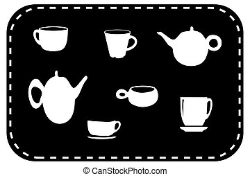 Teapot and cup set vector illustration on black background