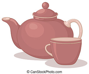Teapot and cup - tea thing: dark red china teapot and cup