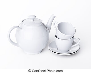 Teapot and cups isolated on white background