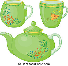 Vector, green china teapot and cups with a pattern of flowers and leaves