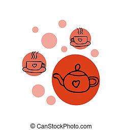 teapot and cups with a heart in hand drawn scandinavian simple liner style. design with circles.