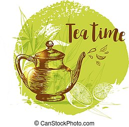 Teapot and lemon on a green background