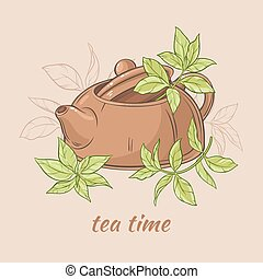 teapot and tea leaves - Vector Illustration with brown ...