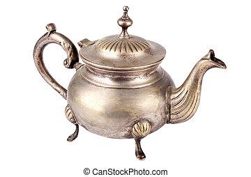 Teapot - Antique teapot on white background