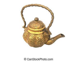 teapot brass on isolated