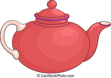 Teapot - China round red teapot with the white handle