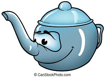 Teapot - colored cartoon illustration