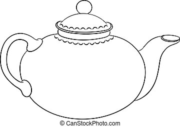 China round teapot with a cover, graphic monochrome contour