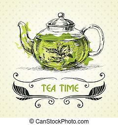 teapot green tea - Kettle green tea. Hand drawn sketch ...