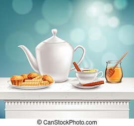 Teapot Honey Jar Realistic Set