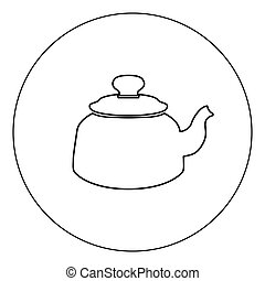 Teapot icon black color in circle vector illustration isolated