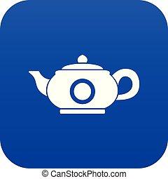Teapot icon digital blue