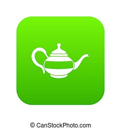 Teapot icon digital green