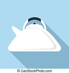 Teapot icon, flat style