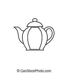 Teapot icon, outline style