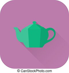 Teapot icon. Vector. Flat design with long shadow.
