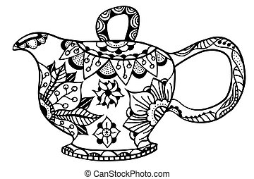 Teapot isolated illustration. Hand drawn art made of flowers...