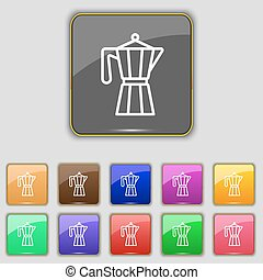 Teapot kettle trendy icon sign. Set with eleven colored buttons for your site. Vector