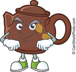Teapot mascot cartoon character style with Smirking face