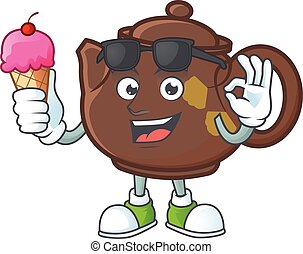 Teapot mascot cartoon design with ice cream