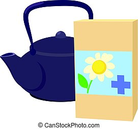 Teapot of herbal tea with chamomile icon