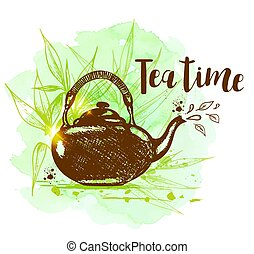 Teapot on a green watercolor background