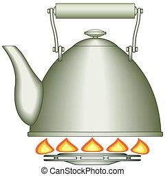 Teapot on burner - Illustration of the teapot on gas-stove...
