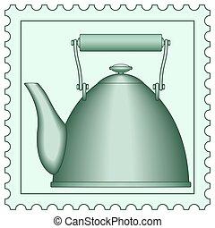 Teapot on stamp