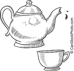 Doodle style coffee or tea vector illustration with coffeepot, teapot, and cup