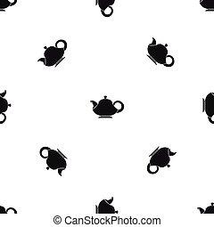 Teapot pattern seamless black