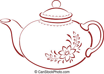 Teapot, pictogram - China teapot with a pattern from a...