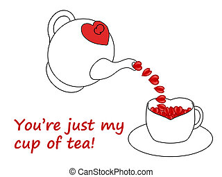 Teapot pouring hearts into teacup illustration, isolated on...