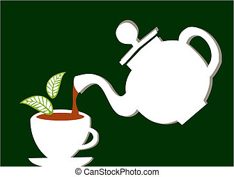 Teapot serving a cup of tea - a white teapot serving tea...