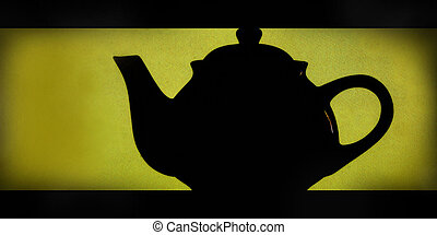 teapot silhouette yellow background