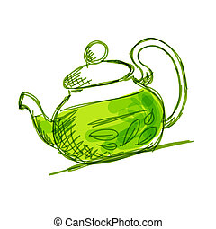 Teapot sketch with green tea for your design