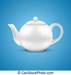 teapot., vit, keramisk, illustration., vektor