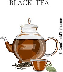 Teapot with a black tea. Hot drink