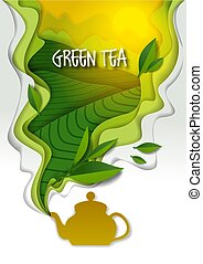 Teapot with aromatic green tea, vector paper art illustration