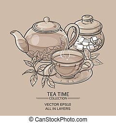 teapot with cup and sugar bowl - Illustration with cup of...