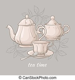 Teapot with cup and sugar bowl