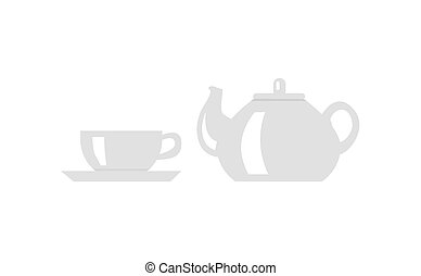 Teapot with Cup Icon Vector Illustration