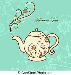 Teapot with floral design elements.
