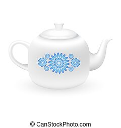 Teapot with floral ornament.
