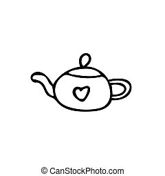 teapot with heart. Element in hand drawn Scandinavian style. icon in simple liner. card, poster, menu. tea ceremony.
